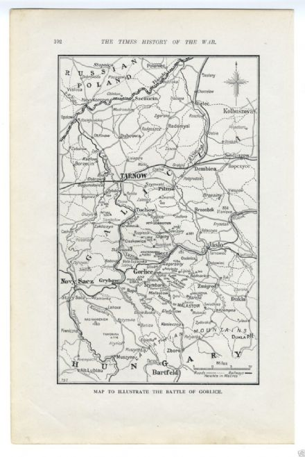 1915 Map POLAND WW1 BATTLE OF GORLICE Tarnow Offensive GREAT WAR (102)
